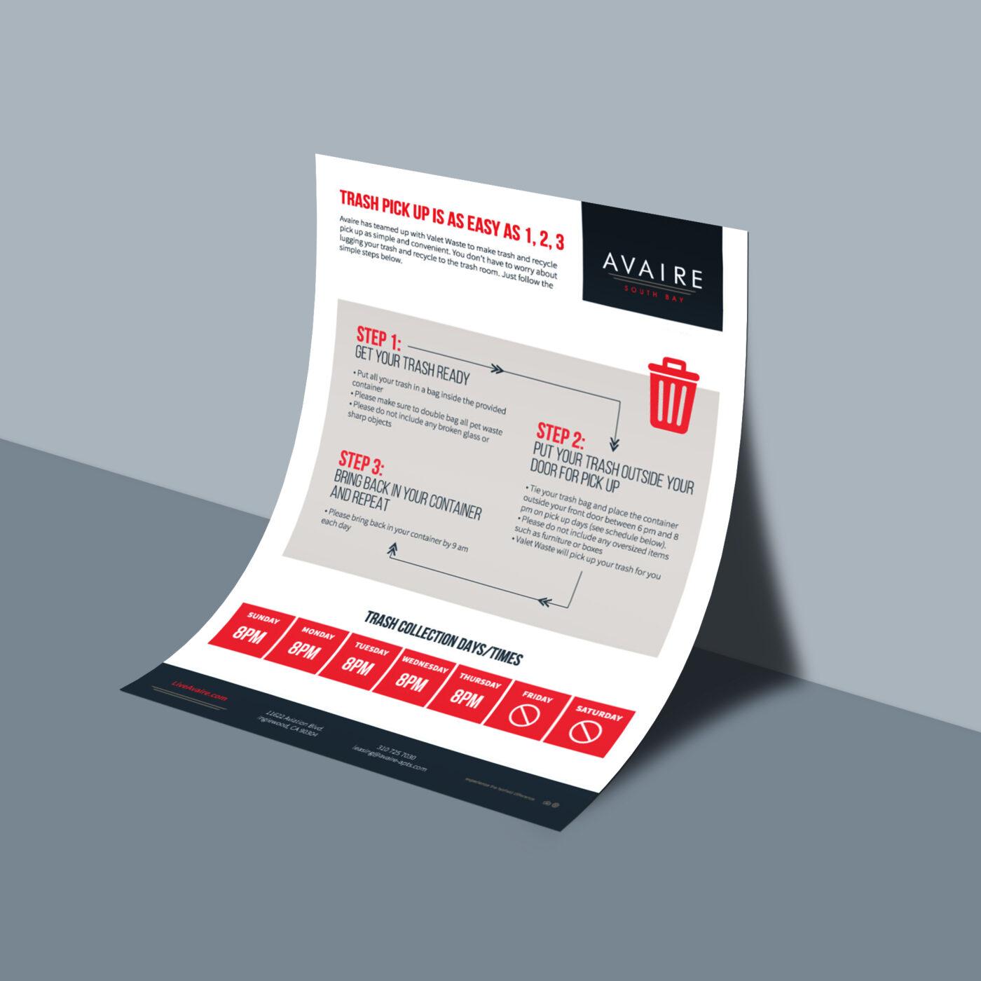 valet trash flyer design